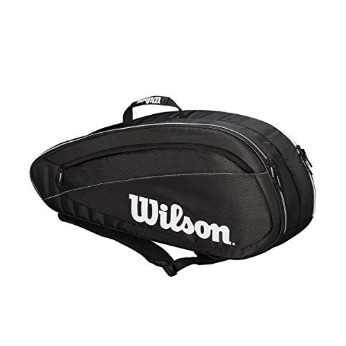 (Wilson Fed Team 6 Pack Tennis Bag, Black/White)