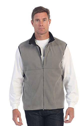 Grey Polar Fleece (Gioberti Men's Full Zipper Polar Fleece Vest, Gray, X-Large)