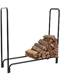 hollyhome 28 inch steel firewood rack fireplace log holder black - Firewood Racks