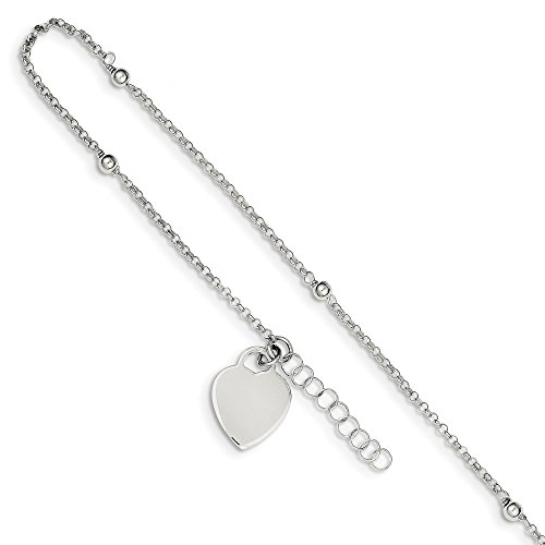 925 Sterling Silver Bead Heart 1 Inch Adjustable Chain Plus Size Extender Anklet Ankle Beach Bracelet Fine Jewelry Gifts For Women For Her ()