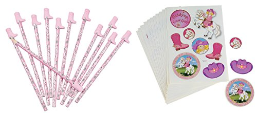 Pink Cowgirl Birthday Party Favor Pack (12 Sticker Sheets & 12 Cowboy Boot Topped Pencils) (Pink Cowgirl Sticker Sheets)