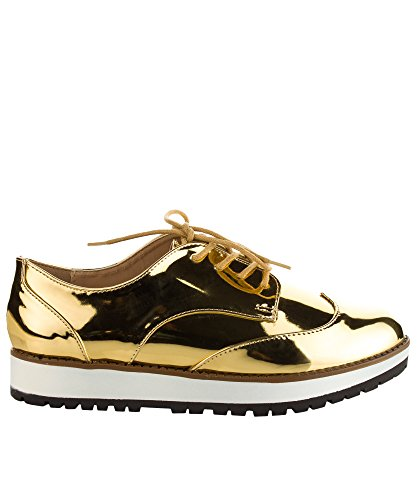 Qupid Womens Fashion Sella Metallica Lucido Lace Up Flatform Platform Oxford Gold