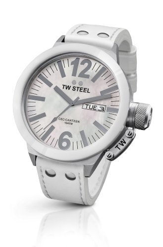 TW Steel Men's CE1038 CEO Canteen White Leather Strap Watch