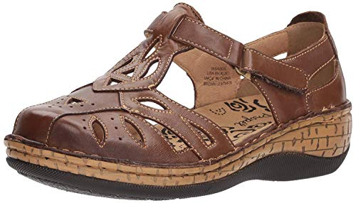 Propet Women's Jenna Fisherman Sandal, Brown, 10 Medium US