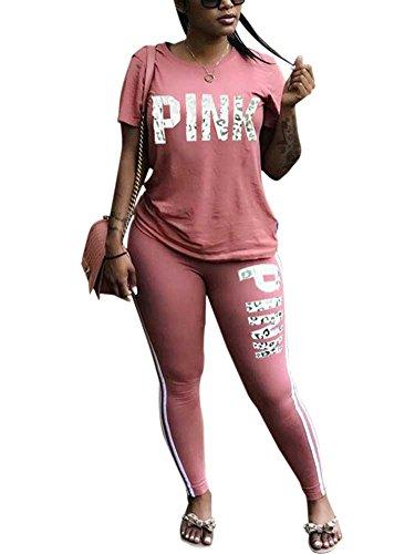 KIRJAUDU Women 'Pink' Print Tracksuit Short Sleeve Pullover Tops + Long Bodycon Pants Pink (Pink Jogging Pants)