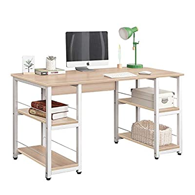 DlandHome Computer Desk 55 inches w/Open Storage Shelves for Both Side Multifunction Home Office Desk/Studio Workstation… - 【Dimensions】: 55.1L * 23.6W * 29.9H inch (140L * 60W * 76H cm), meet the daily needs; Desk weights about 66 lbs (30kg). 【Health & High Quality】: The Plate: Solid wood particle pressing, E1 grade environmental wood without any industrial glue, and 0 formaldehyde release. Metal Frame: Utilizes heavy-duty and powder-coated metal materials, which ensures stability and durability. 【Reasons to Purchase】: Bulid in 2 shelves for both side, enough to place your books, laptop, tablet. Completely solve the problem of storage to ensure enough desktop space; Ultra-thick desktop and pipe structure which is more Strong, Durable, and Steady. - writing-desks, living-room-furniture, living-room - 414qAOBTNtL. SS400  -