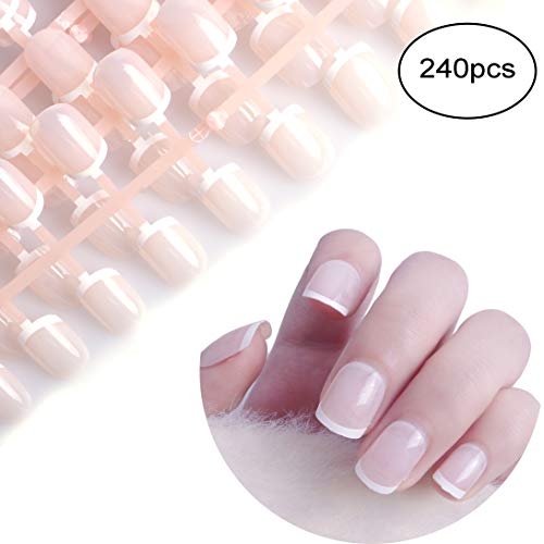 (Siusio 240 Pcs French Fake Nails, 10 Pack Natural Beige Full Cover Oval Short UV Top Coat Artificial Acrylic Nails [No Glue)