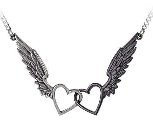 Passio Wings Of Love Entwined Winged Double Heart Necklace Pendant Gothic