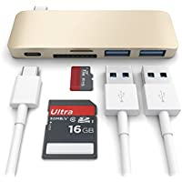 Aluminum USB C Hub Adapter with Charging Type-C Port ,SD/TF Card Reader and 2 USB 3.0 for New 13 and 15MacBook Pro 2016 ,Google ChromeBook Pixel (Gold)