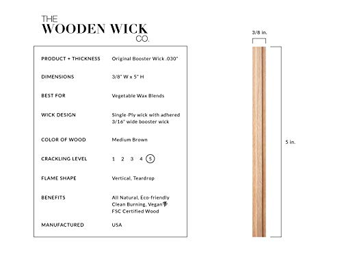 Wooden Candle Wick for Vegetable Blended Wax Candles with Jar Diameter 2.5-3 inches by Wooden Wick Co. | 5 Inch Crackling Wood Wick Candle Making Supplies with Metal Stand''Original Booster Wick'' by Wooden Wick Co. (Image #1)