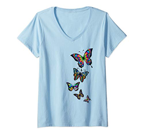 Womens Colorful Rainbow Cute Butterfly Festival Rave beautiful V-Neck T-Shirt