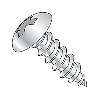 Stainless Steel Sheet Metal Screw 3 Length #10-12 Threads Phillips Drive Plain Finish Pack of 100 Oval Head 3 Length Small Parts
