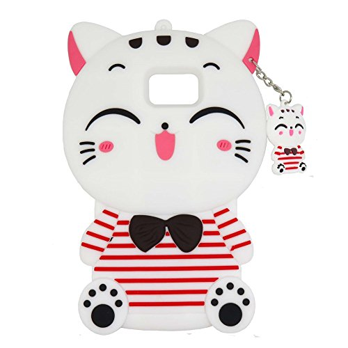 Samsung Galaxy S6 Edge Case, Maoerdo Cute 3D Cartoon White Stripes Plutus Cat Lucky Fortune Cat Kitty with Bow Tie Silicone Rubber Phone Case Cover for Samsung Galaxy S6 - Bow With Kitty