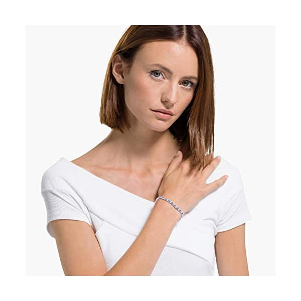 SWAROVSKI Women's Sparkling Dance Necklace, Earrings & Tennis Bracelet, White & Blue Crystal Jewelry Collection