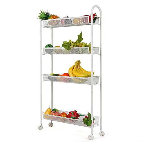 Homfa 4-Tier Gap Kitchen Storage Cart Slim Slide Out Storage Tower Rack Shelf with Wheels, Cupboard with Casters,White (Slide Out Storage Basket)