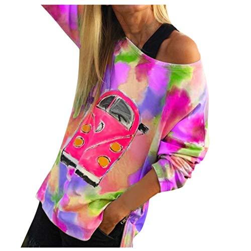 [해외]kemilove Women Fashion Muticolor Long Sleeve Off Shoulder Blouse Tie Dye Print Sweatshirt / kemilove Women Fashion Muticolor Long Sleeve Off Shoulder Blouse Tie Dye Print Sweatshirt Red