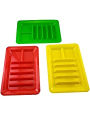 Set of Three Taco Holder Stand Platter Up Divider Plates Multi Colored Plastic Plates