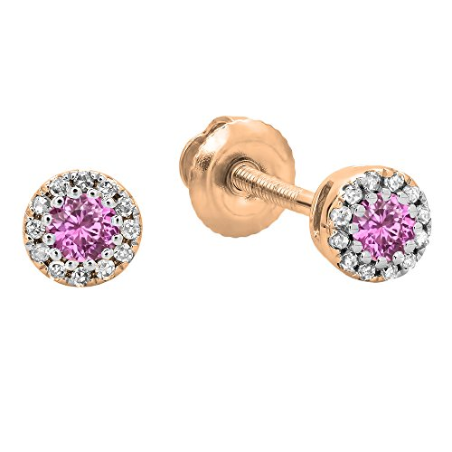 Dazzlingrock Collection 18K Round Pink Sapphire & White Diamond Cluster Halo Stud Earrings, Rose Gold (Rose Gold And Pink Sapphire Ring)
