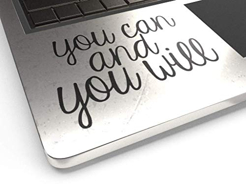 "You Can You Will 3.5"" Decal Vinyl Motivational Sticker Lapto"