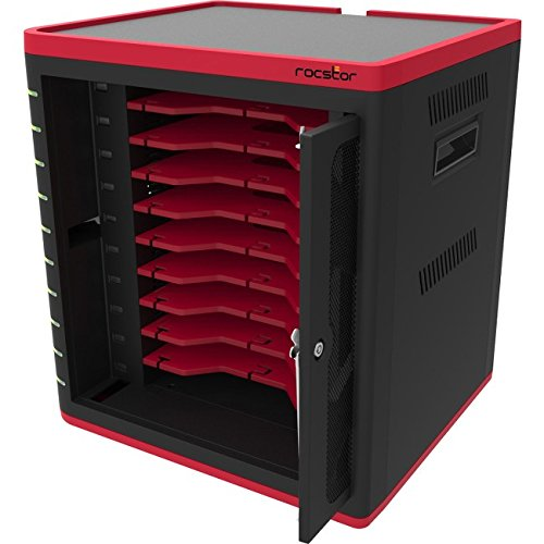 Rocstor VTSC10-01 USB Tablet Sync & Charging Cart Station for iPad, Android, Black/Red