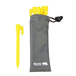 BEARZ Outdoor Stakes with an Anchor for Outdoor Blankets and Tents with a Pouch Durable Plastic, Safety Yellow (5.9″ Pack of Four) for Sand, Beach, Lawn, Camping, Compact & Lightweight Ground Pegs