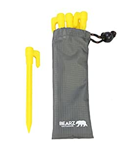 BEARZ Outdoor Stakes with an Anchor for Outdoor Blankets and Tents with a Pouch - Durable Plastic, Safety Yellow (5.9″ Pack of Four) - for Sand, Beach, Lawn, Camping, Compact & Lightweight Ground Pegs