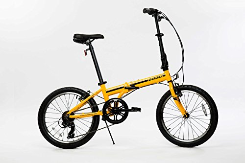 (EuroMini Campo 28lb Lightweight Aluminum Frame Shimano 7-Speed Folding Bike 20-Inch (Matte Yellow))
