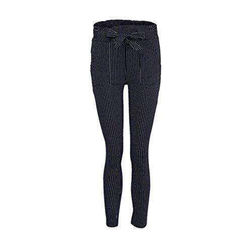 Elegante Ladies Basic Slim Harem Pantaloni Blu Sottile Donna Temperamento Vita ShallGood OL Elastico Alto Larghi Classici Dritti Pantaloni Stretti Pantaloni C wqntxEC6