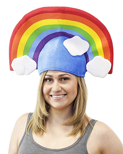 Large Rainbow Hat - Funny Novelty Costume Accessory, Rainbow and Clouds Design Headpiece, Cartoon Cosplay Party Supplies, for Women, Men, Teens - Clouds Design