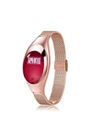 SURMOS Smart Band Android Ios Z18 Blood Pressure Heart Rate Monitor Wrist Watch Luxurious Watch For Women & Young girl Gift (Gold)