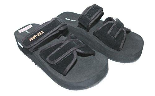 Foot-EEZ Black Unisex Diabetic & Pain-Relief Double Strap Adjustable Sandals (Mens 9 / Ladies 10)