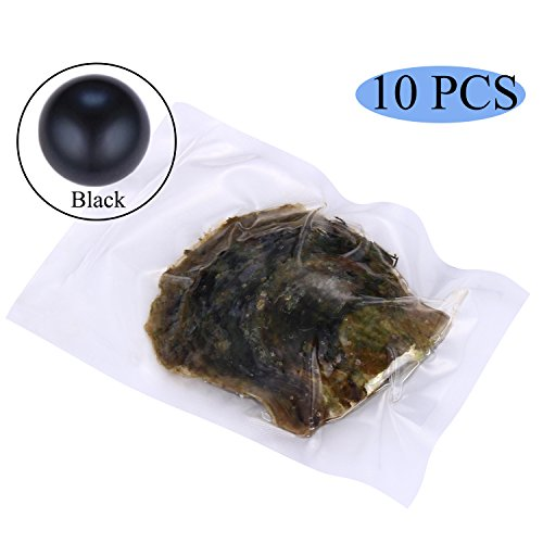 HENGSHENG 10 PCS Seawater Akoya Pearl Oyster 6-7mm Pearl Inside Jewelry Making Charms(bcpo003-10) (Black)