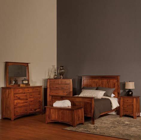 Cabinfield Boulder Creek Amish Bedroom Set, Rustic Hickory Wood, Handcrafted Amish Bedroom Furniture