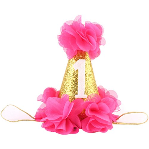 Baby Girl First Birthday Hat Princess 1 St Cake Smash Party Crown Gold Chiffon Flower Headband Hot Pink (Toddler Hat Party)