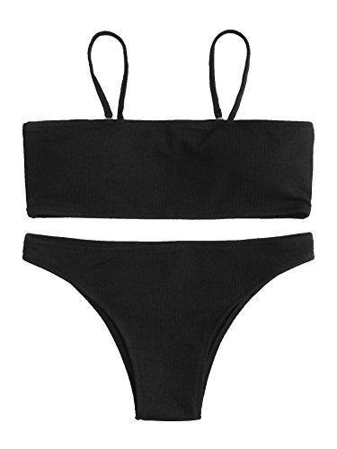 SweatyRocks Women's Sexy Bikini Set Removable Strap Wrap Padding Ribbed Swimwear Set Black - Wrap Ribbed