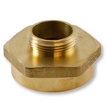 Brass Hex 1 1//2 Female NPSH to 2 Male NPT Fire Hose Adapter