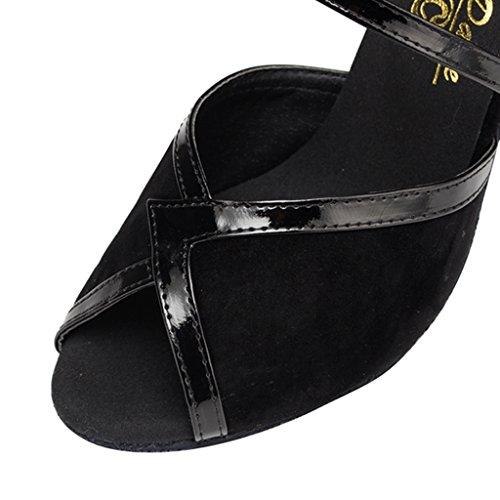 Crc Ycl172 Donna Peep Toe Metà Tacco Micro Suede Salsa Sala Da Ballo Latino Moderno Caviglia Avvolgere Sandali Da Ballo Nero