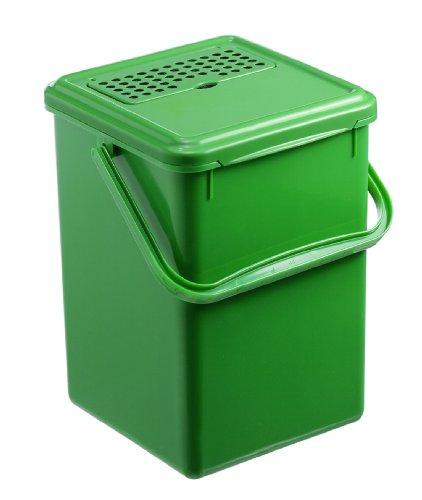 Rotho Komposteimer Bio, Abfallbehälter für die Küche aus Kunststoff mit geruchsdichtem Deckel und Aktivkohlefilter in grün, Biomülleimer mit 8 Liter Inhalt, ca. 23 x 22.5 x 27.5 cm