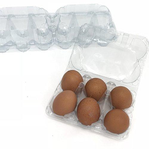 (Clear 2x6 Split Egg Cartons, Split Carton, Blank Flattop Style Carton, 12-Egg or 6-Egg, Set of)