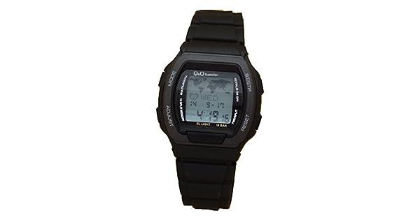 Amazon.com: Q & Q Hombres Digital hora mundial reloj ...