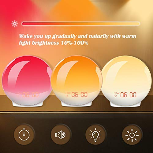 Wake-Up Light, HOKEKI Alarm Clock with 7 Colored Sunrise Simulation and Sunset Fading Night Light & Snooze Feature for Kids Heavy Sleepers, Dual Digital Clock with FM Radio and 7 Natural Sounds by HOKEKI (Image #4)