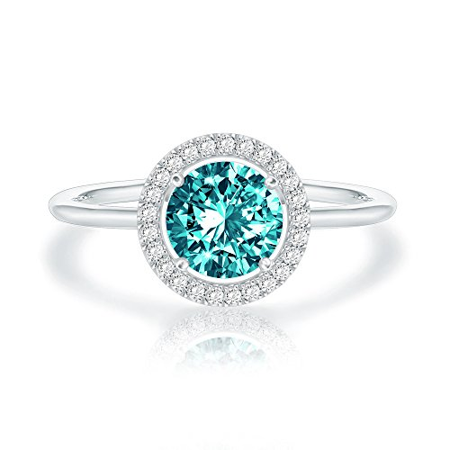 (Swarovski Crystal 14K White Gold Plated Birthstone Rings | White Gold Rings for Women | Emerald Ring)