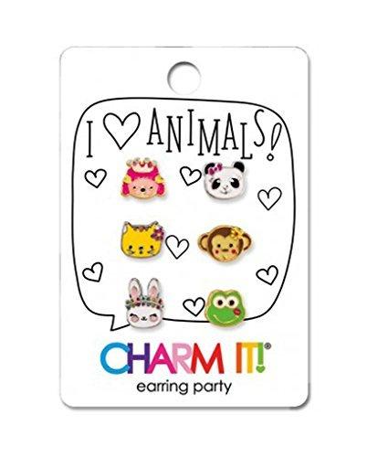 rring Party Set - 6 Interchangeable Earrings Puppy, Panda, Kitten, Monkey, Frog & Bunny (Kitty Charm Earrings)