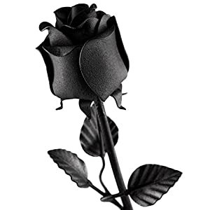 Hand Forged Iron Rose - 100% Wrought Iron Flower In Black - Unique Anniversary Gift 2