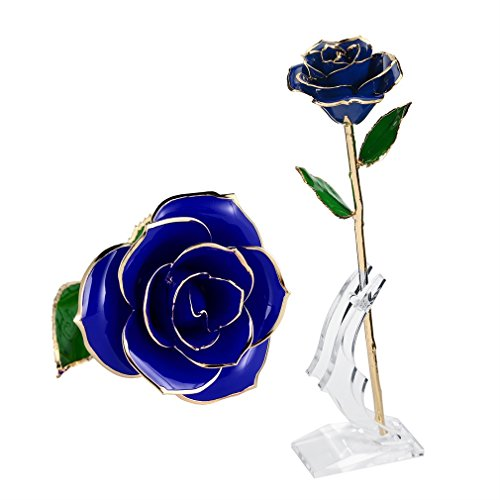 Rose Flower ,U-KISS 24k Gold Rose in Gift Box with Clear Display Stand for Lover Mother Girlfrien, Best Gift for Valentine's Day, Mother's Day, Anniversary, Birthday Gift,Christmas Day ,In Gift (Birthday Website)