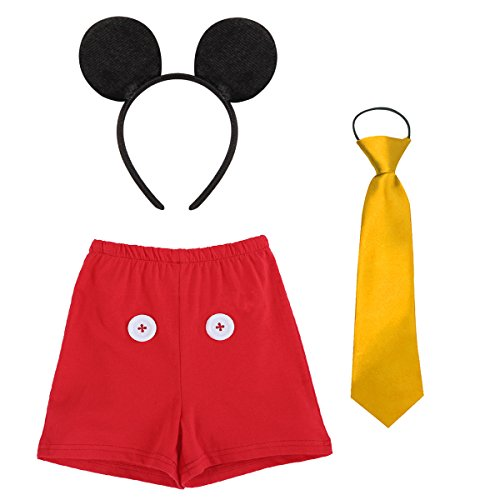 Baby Boys Cake Smash Outfit First Birthday Bloomers Boxer Diaper Cover+Formal Tuxedo Bow Tie+ Black Mouse Ears Headband Fancy Dress up Mickey Costume Carnival Party Cosplay for Photo Shoot Red -