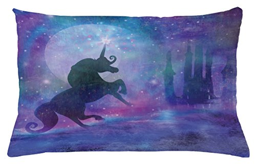 Fantasy Throw Pillow Cushion Cover by Lunarable, Magical Unicorn Silhouette Legendary Myth Creature with Stars Dream Art Print, Decorative Accent Pillow Case, 26 W X 16 L Inches, Violet Purple