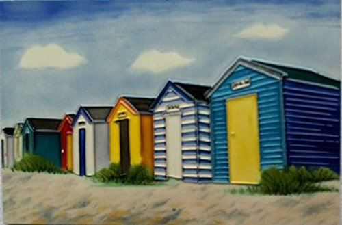 YH-Arts 'Holiday Huts Ceramic Tiles, Multi-Colour, 8 X 12-Inch 8x12-609