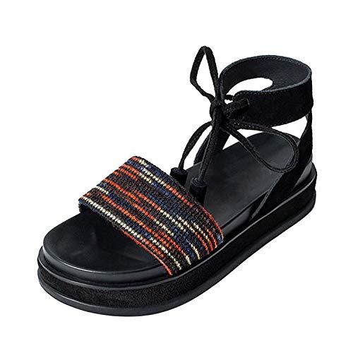 Casual Fringe Flatform Ladies Women Slingback Strap Up Sandals Platform Flat Shoes Tie,Wine Red,37