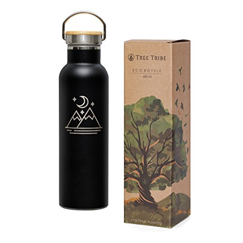 Tree Tribe Stainless Steel Black Water Bottle 20 oz - Mountain and Moon - Indestructible, BPA Free, 100% Leak Proof, Double Wall Insulated for Hot and Cold, Wide Mouth